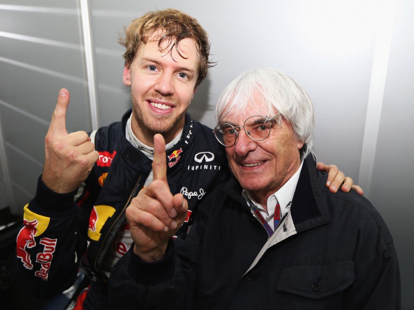 Double points? Sebastian Vettel, left, isn't happy but Bernie Ecclestone wants to expand on the idea