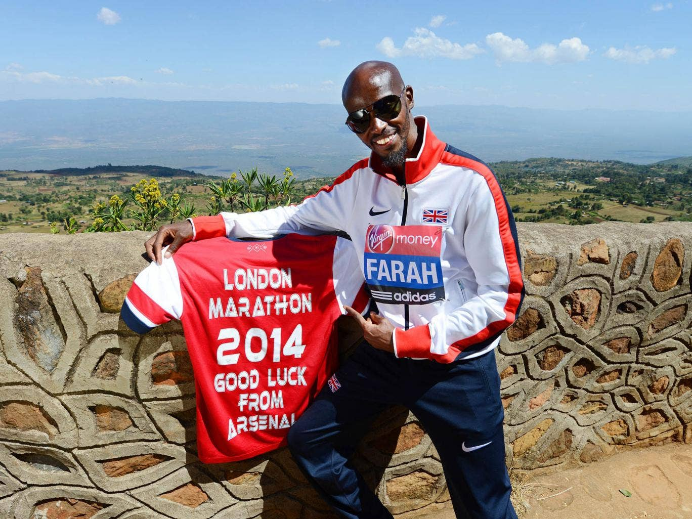 Mo Farah enjoys few home comforts in Kenya, but he does have his beloved Arsenal shirt