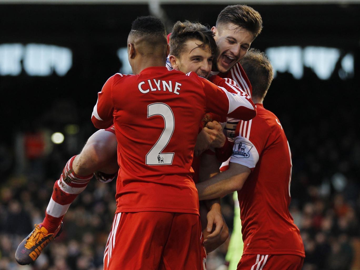 Southampton players celebrate after Jay Rodriguez scores