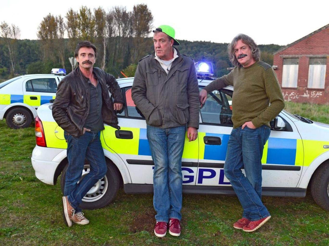 3 men in a car: Presenters Richard Hammond, Jeremy Clarkson, and James May