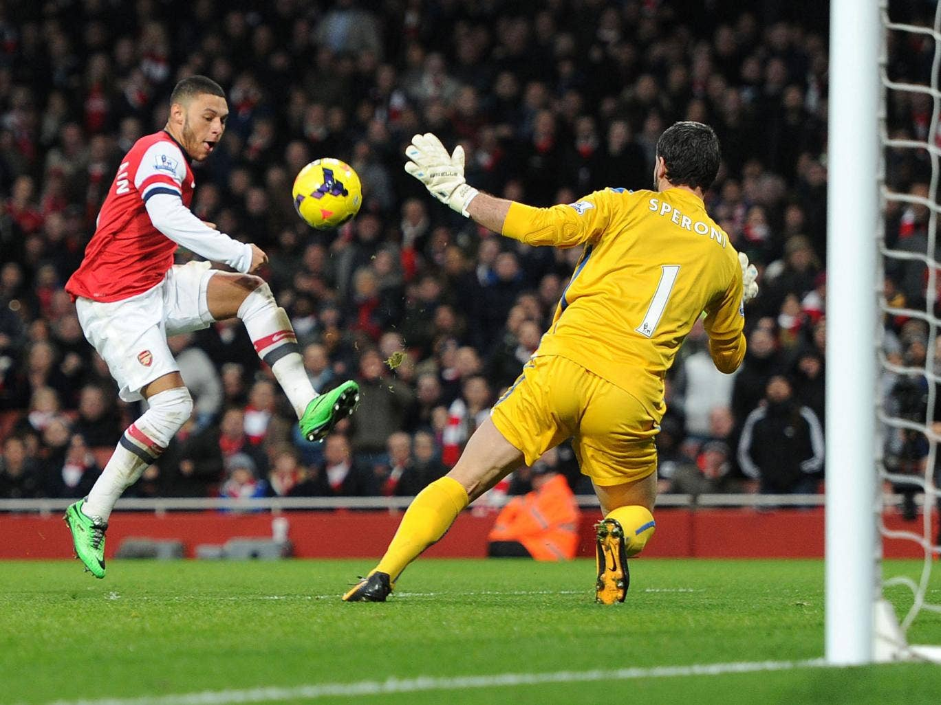 Alex Oxlade-Chamberlain opens the scoring for Arsenal in their 2-0 win over Crystal Palace