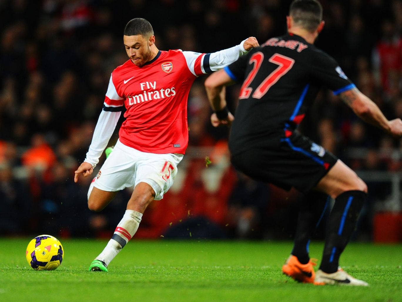 Alex Oxlade-Chamberlain scores his second against Crystal Palace