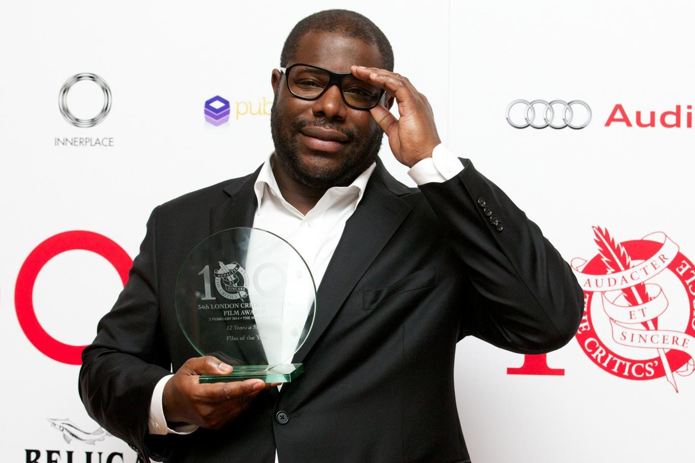 Steve McQueen with his Best Film award for '12 Years A Slave' at the London Critics' Circle Film Awards