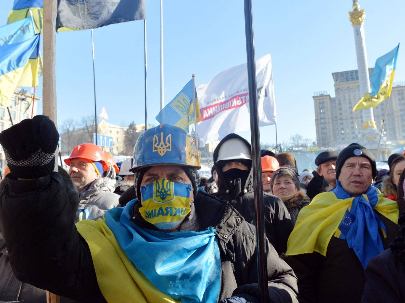 Anti-government protesters take part in a demo in Kiev on February 2, 2014. Ukraine's opposition holds a new rally amid concern about military intervention in the country's worst crisis since independence, after pledges of support from Europe and the Unit