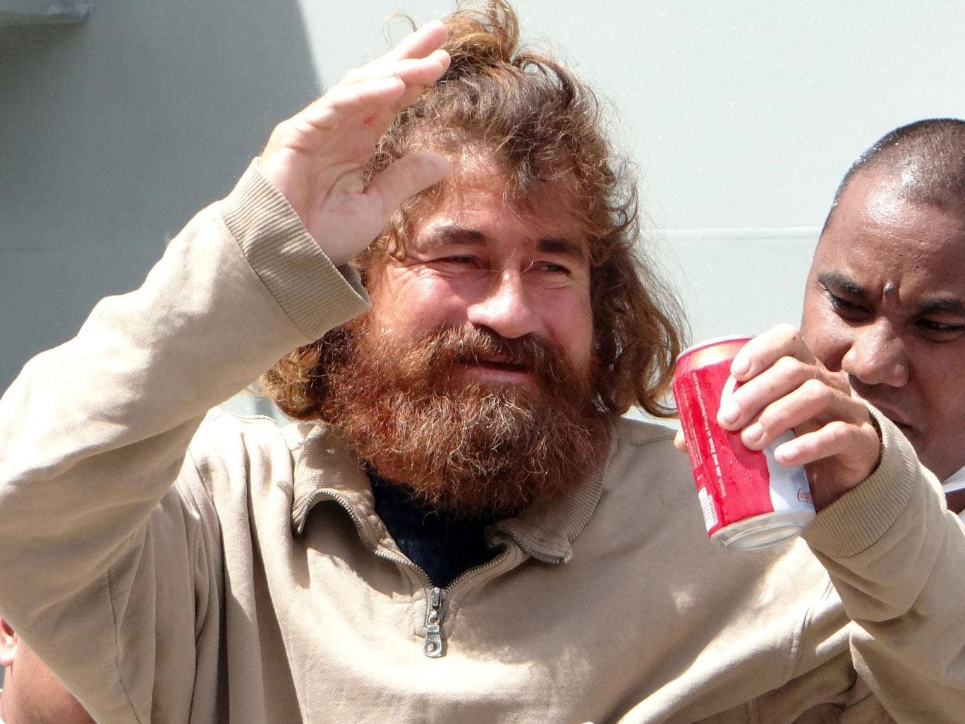 The Mexican castaway who identified himself as Jose Salvador Albarengo is pictured for the first time on his arrival in the Marshall Islands capital Majuro