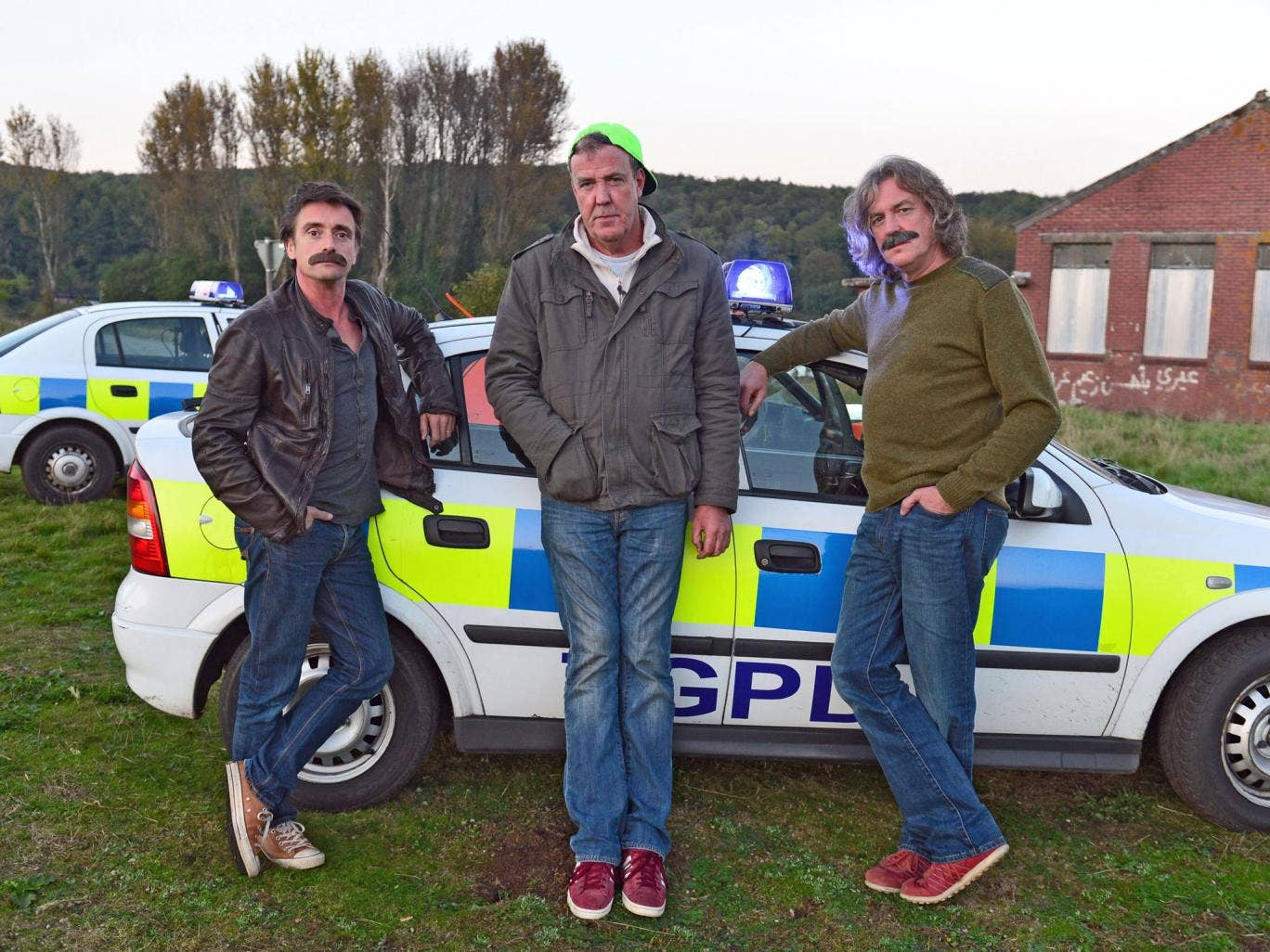 Richard Hammond, Jeremy Clarkson and James May in the first episode of Top Gear's 21st series
