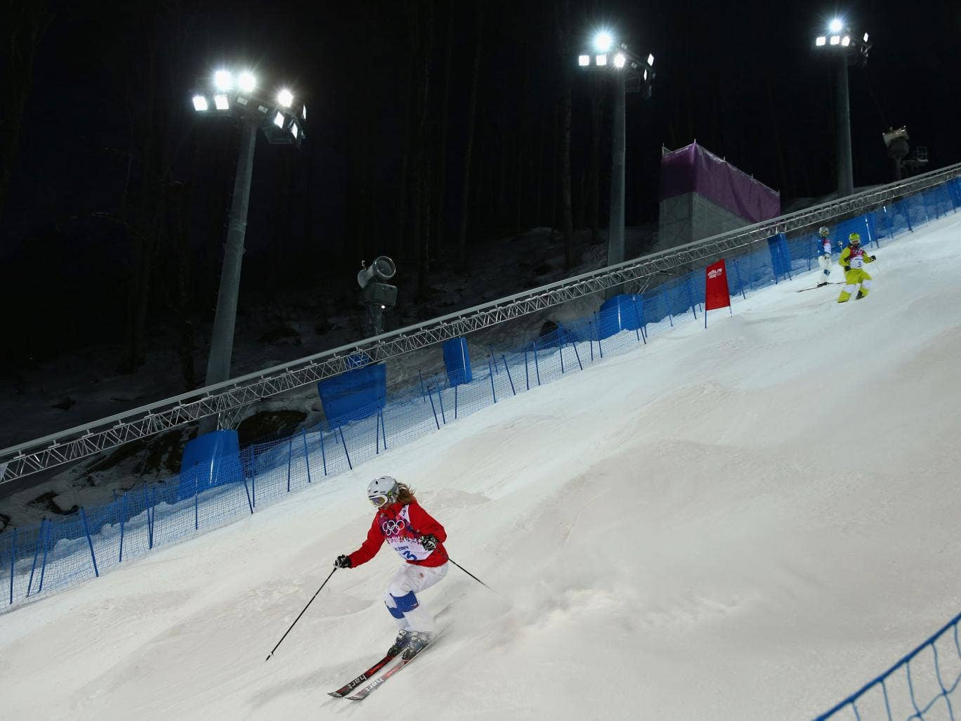 A general view during a training session at the Freestyle Center of the Rosa Khutor Extreme Park
