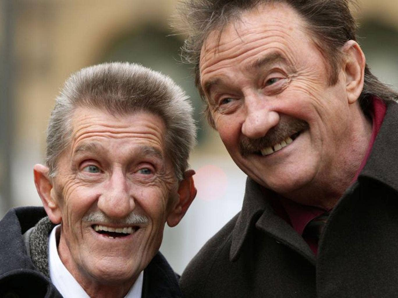 The Chuckle Brothers, Barry (left) and Paul Elliott gave evidence at Southwark Crown Court in London during the trial of Former DJ Dave Lee Travis