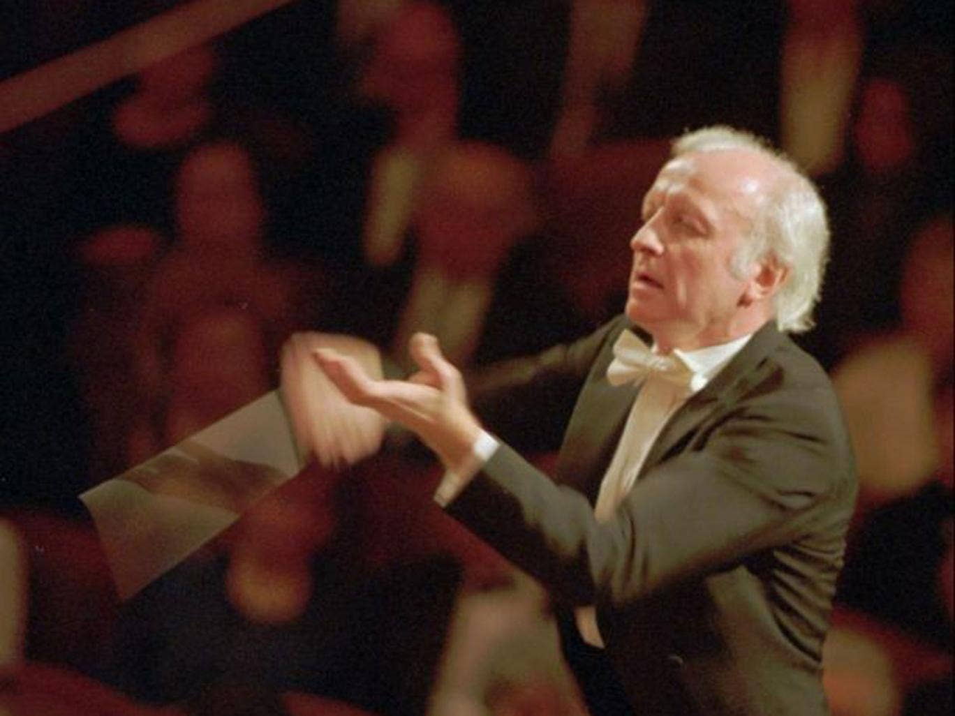 The then chief conductor of Czech Philharmony Orchestra Gerd Albrecht performs during the concert held in Prague in 1996