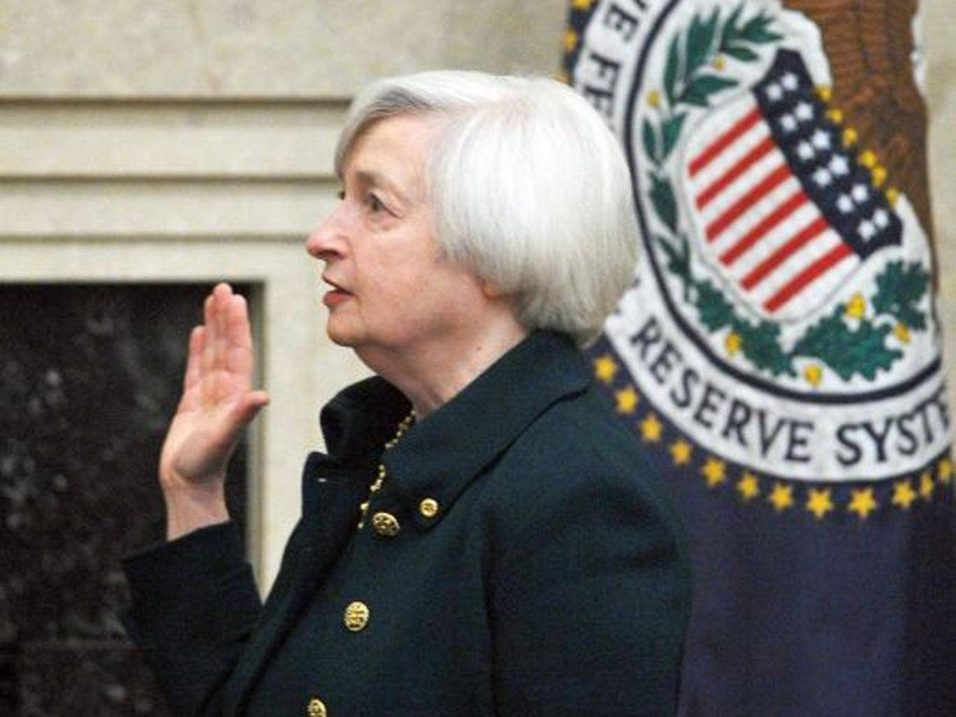 The new head of the US Federal Reserve, Janet Yellen, is sworn into office in Washington, DC yesterday