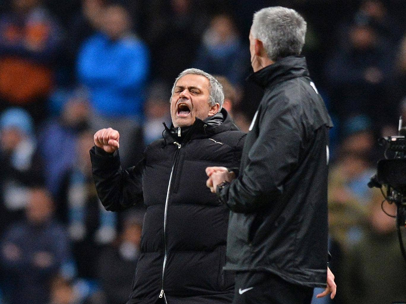 Jose Mourinho celebrates victory against Manchester City on Monday night