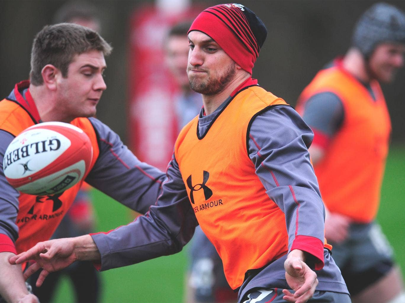 Sam Warburton in action with team mates during a Wales training session