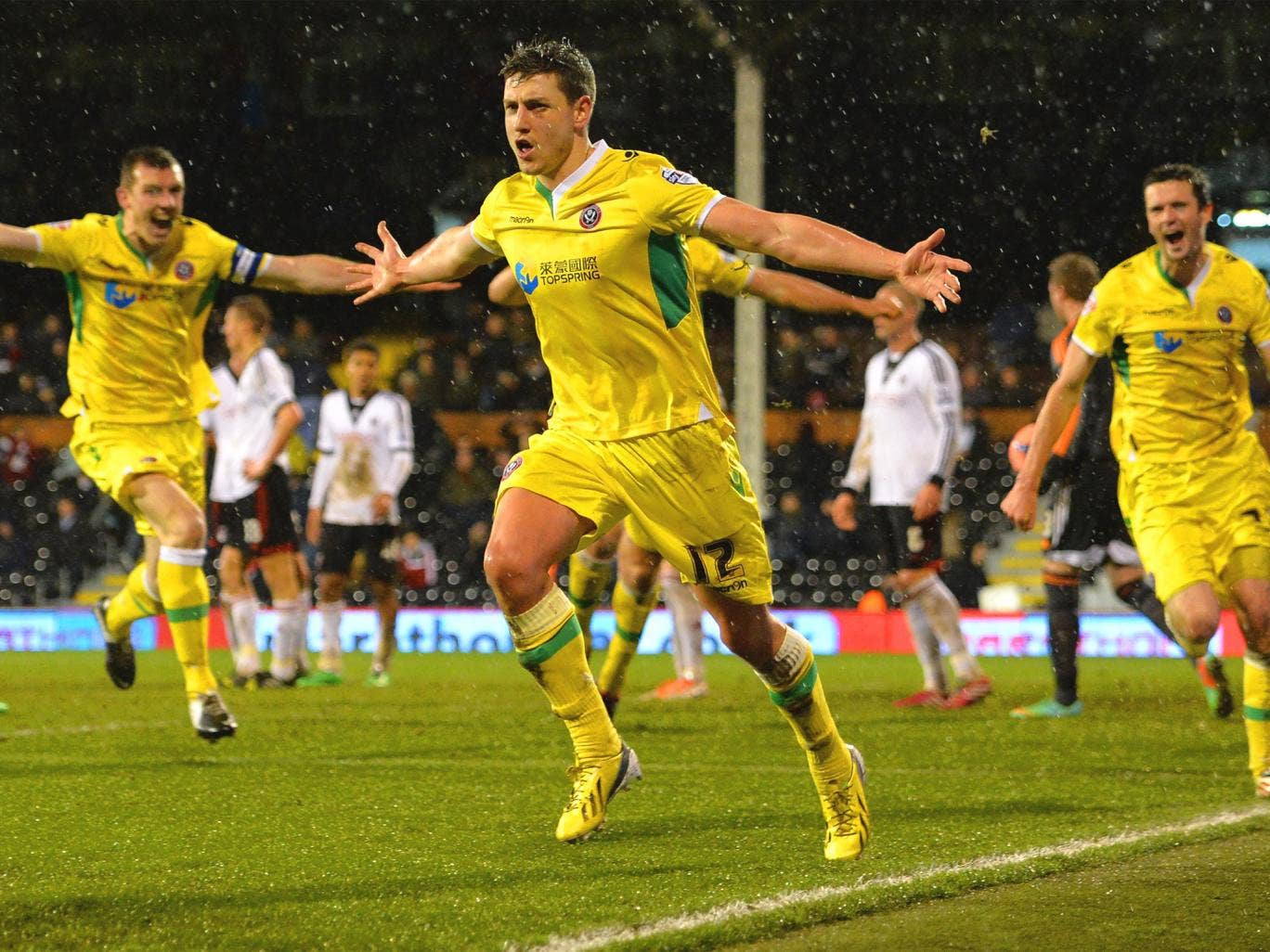 Shaun Miller of Sheffield United celebrates scoring the winning goal