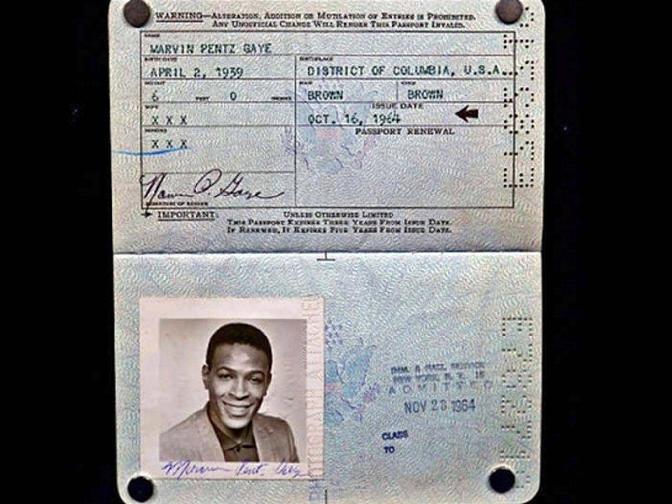 Marvin Gaye's 1964 passport was found hidden in a vinyl by a Detroit music fan