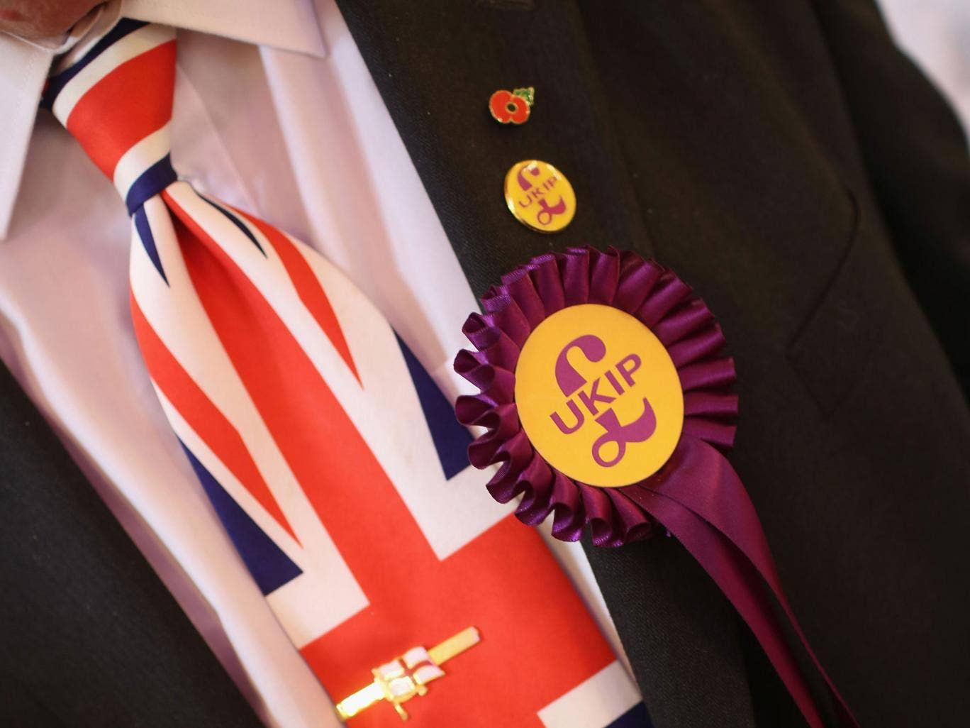 A delegate sporting a Union Flag tie attends the UKIP annual party conference at Central Hall, Westminster on September 21, 2013 in London, England. Members of the United kingdom Independent Party are rallying after UKIP politician Godfrey Bloom lost the