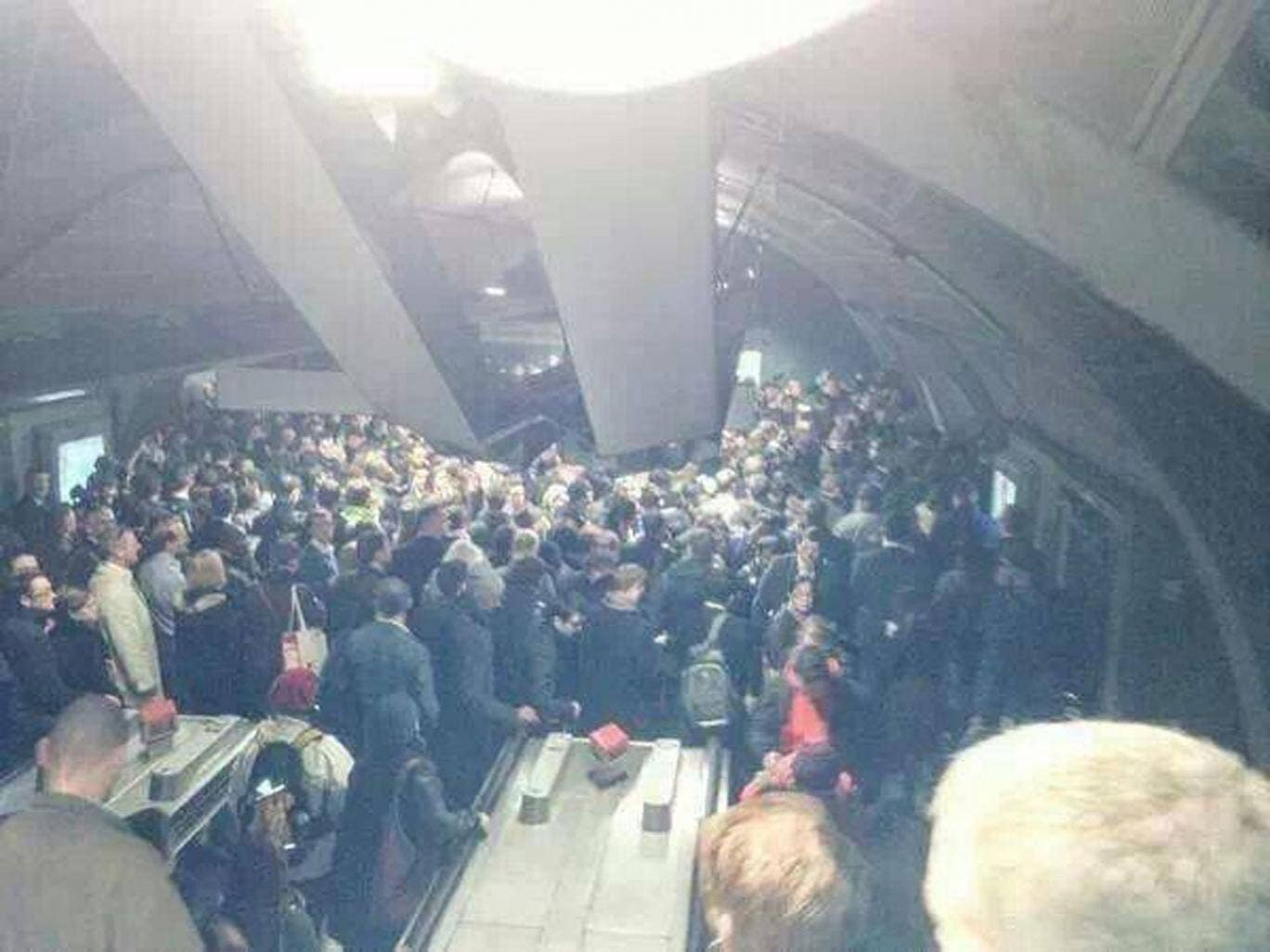RMT said that this image showed 'lethal overcrowding' as a result of Tube services overstretched by union strike action