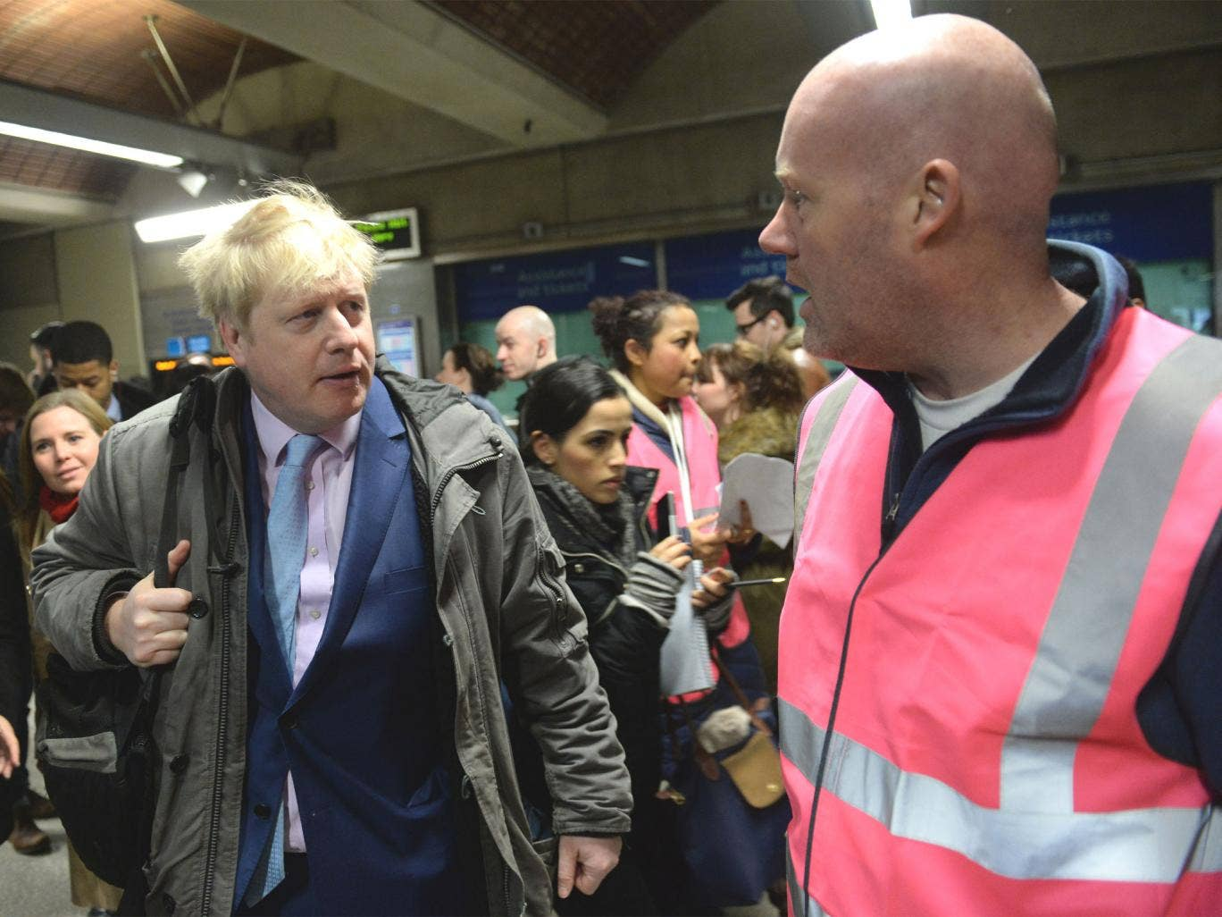 The Mayor of London Boris Johnson meets commuters and staff at London Bridge Underground Station