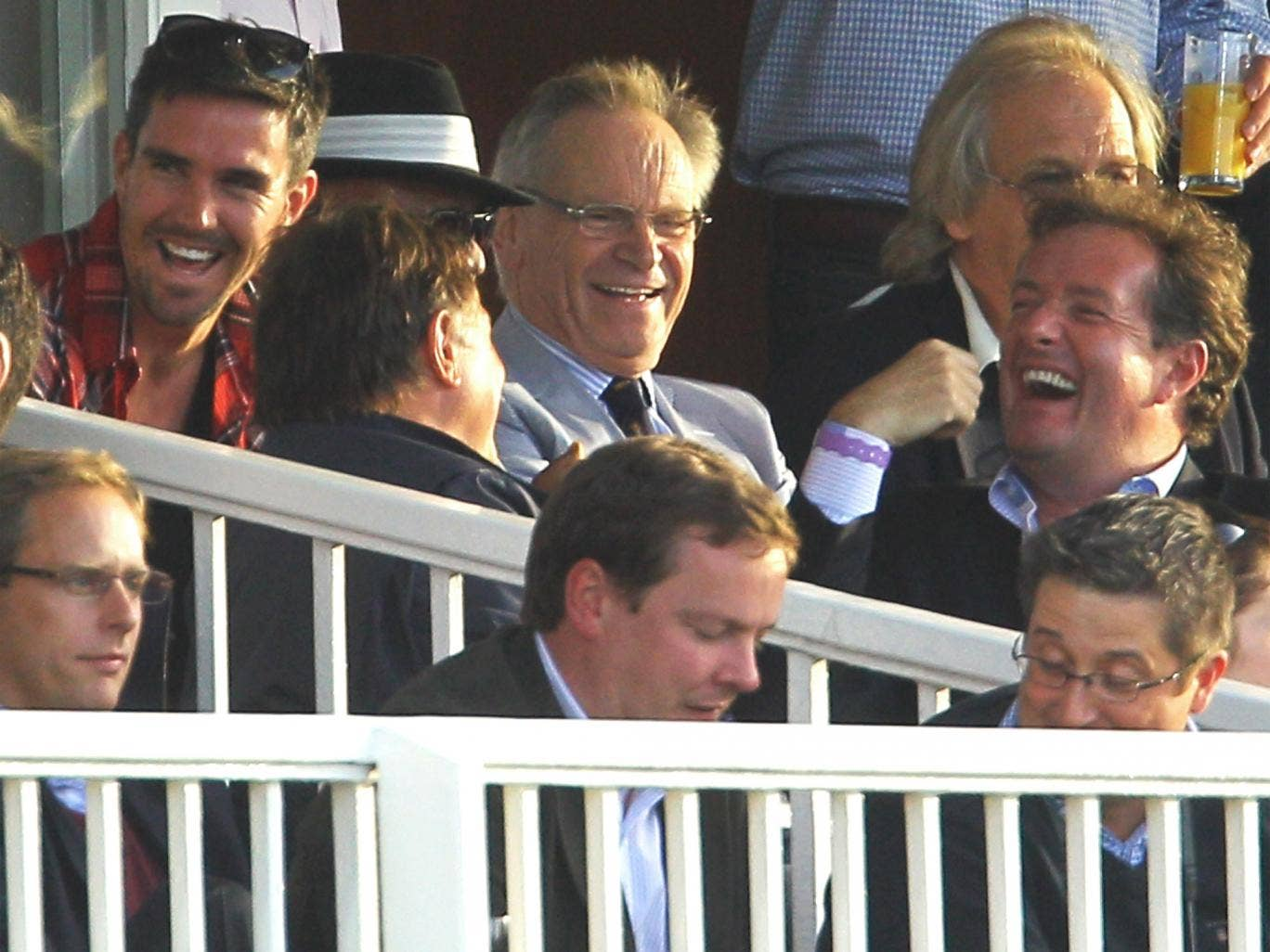Kevin Pietersen (left) with the novelist Jeffrey Archer (centre) and broadcaster Piers Morgan (right) at Lord's in 2010