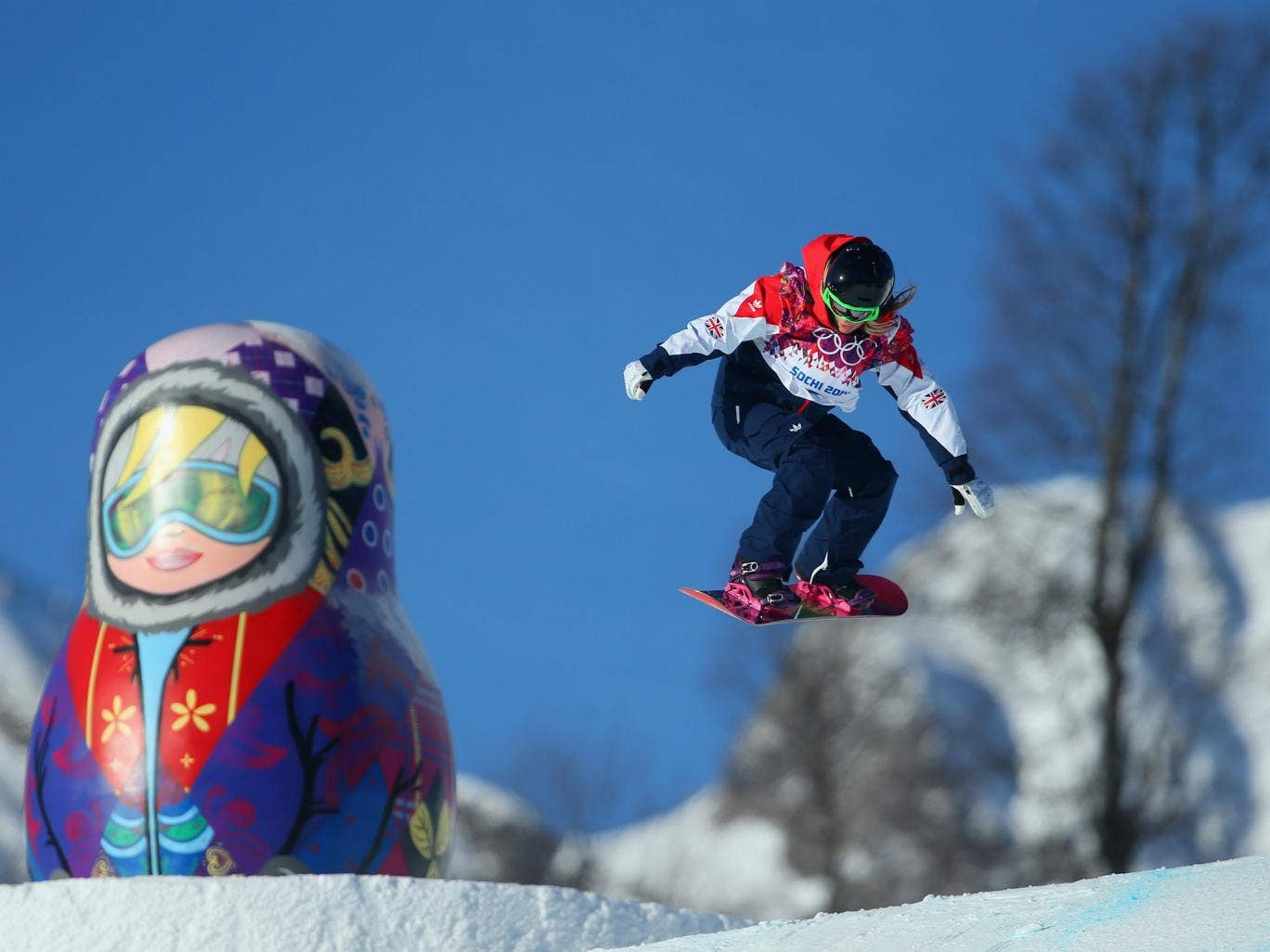 Jenny Jones of Great Britain pictured on the Slopestyle course