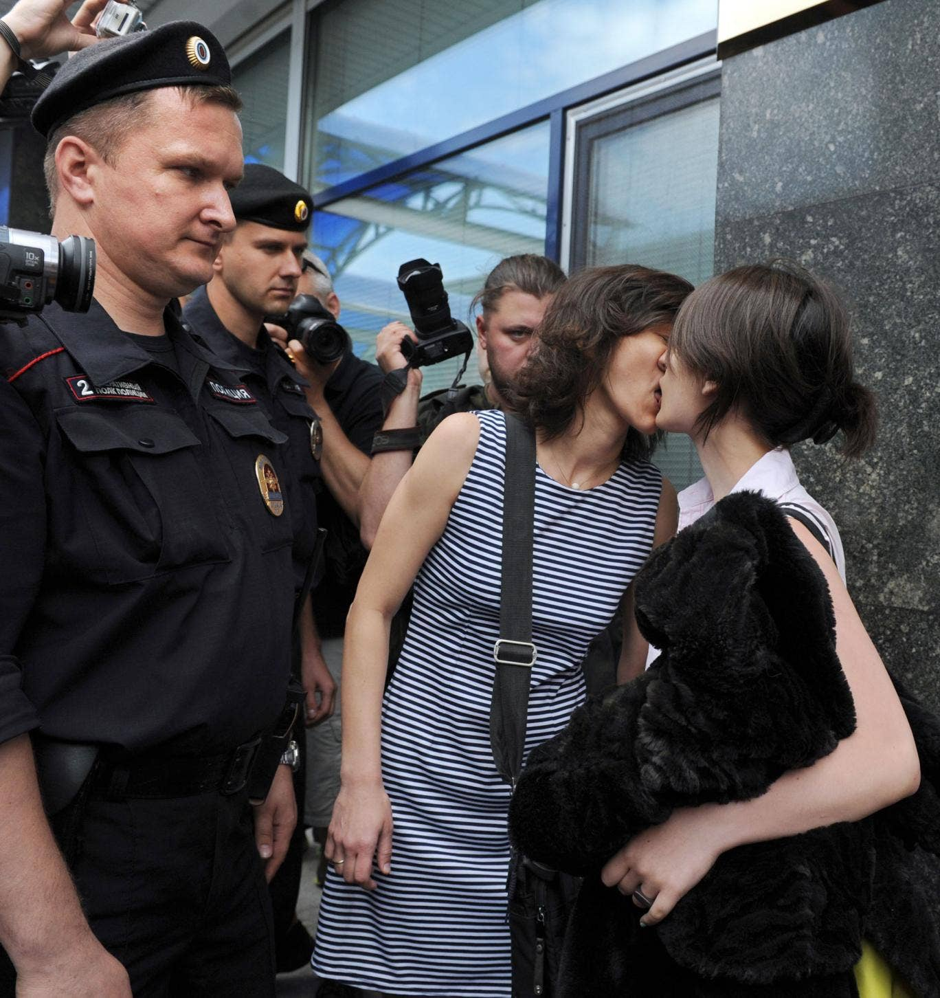 Sexual politics: gay rights activists kissing outside the lower house of Russia's parliament, the State Duma, in Moscow, in 2013