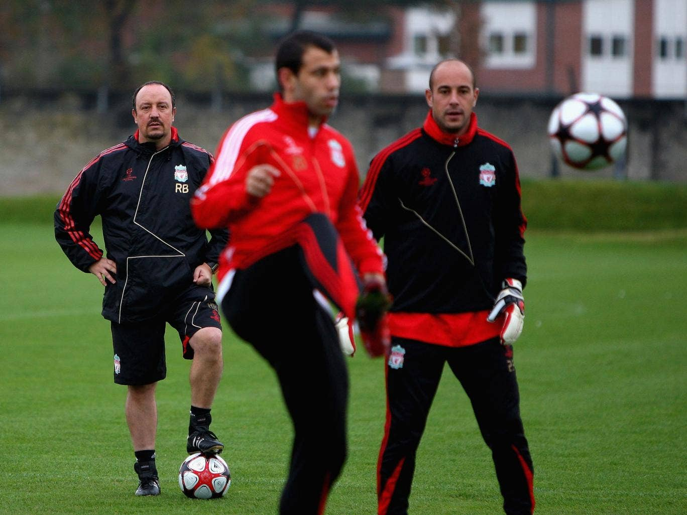 Watching Javier Mascherano and Pepe Reina during Liverpool training in 2009. A conversation with Mascherano persuaded him to join Liverpool from West Ham during the January transfer window, while Reina is now enjoying a new lease of life on loan at Napoli