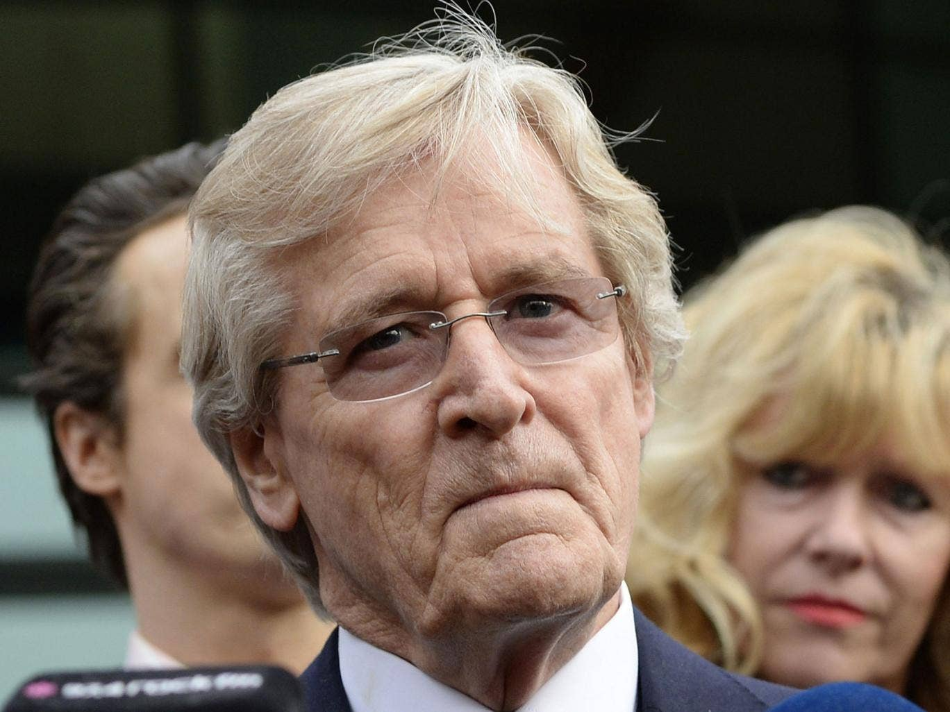 British actor William Roache, who plays the character of Ken Barlow in the soap opera Coronation Street, speaks to media after being cleared of all charges at Preston Crown Court in Preston
