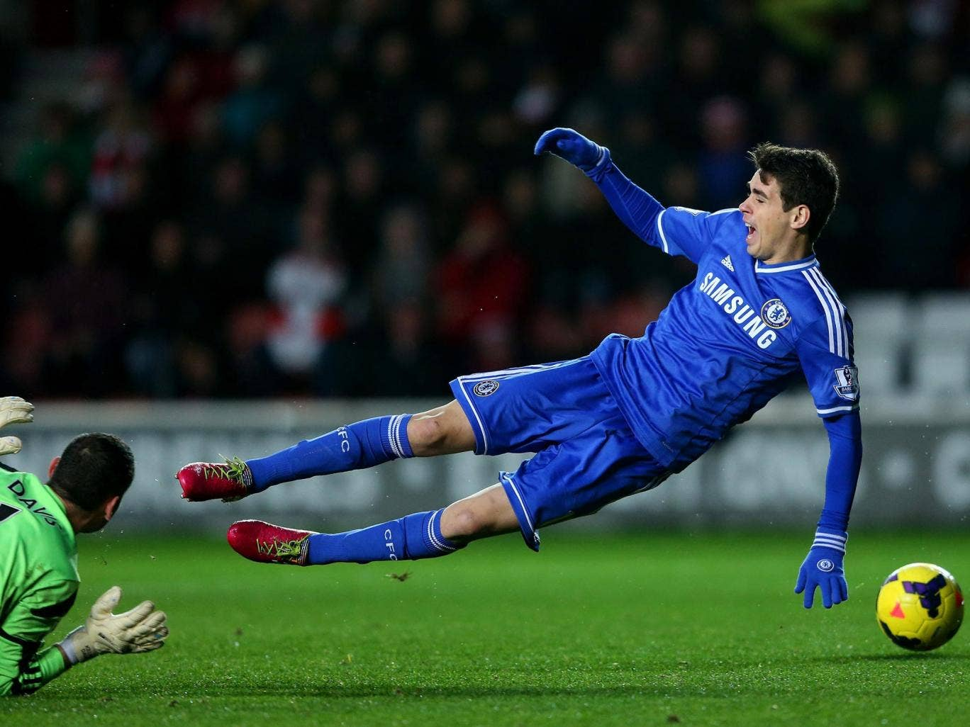 Jose Mourinho has admitted Chelsea's Oscar deserved a yellow card for this theatrical fall against Southampton on New Year's Day