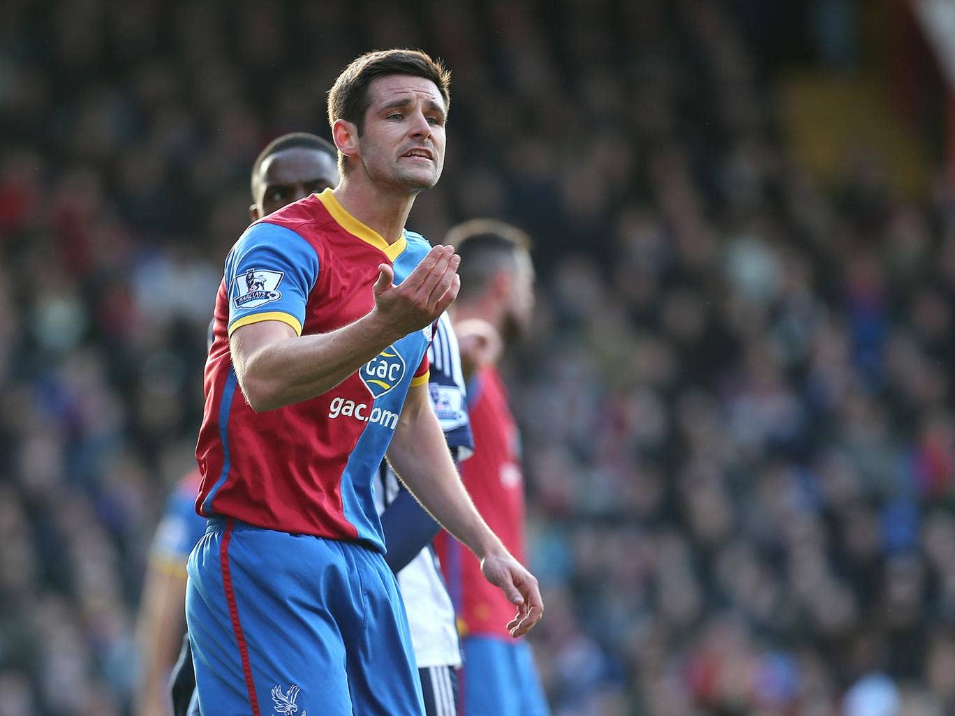 Scott Dann of Crystal Palace organises the defence during the 3-1 win over West Brom
