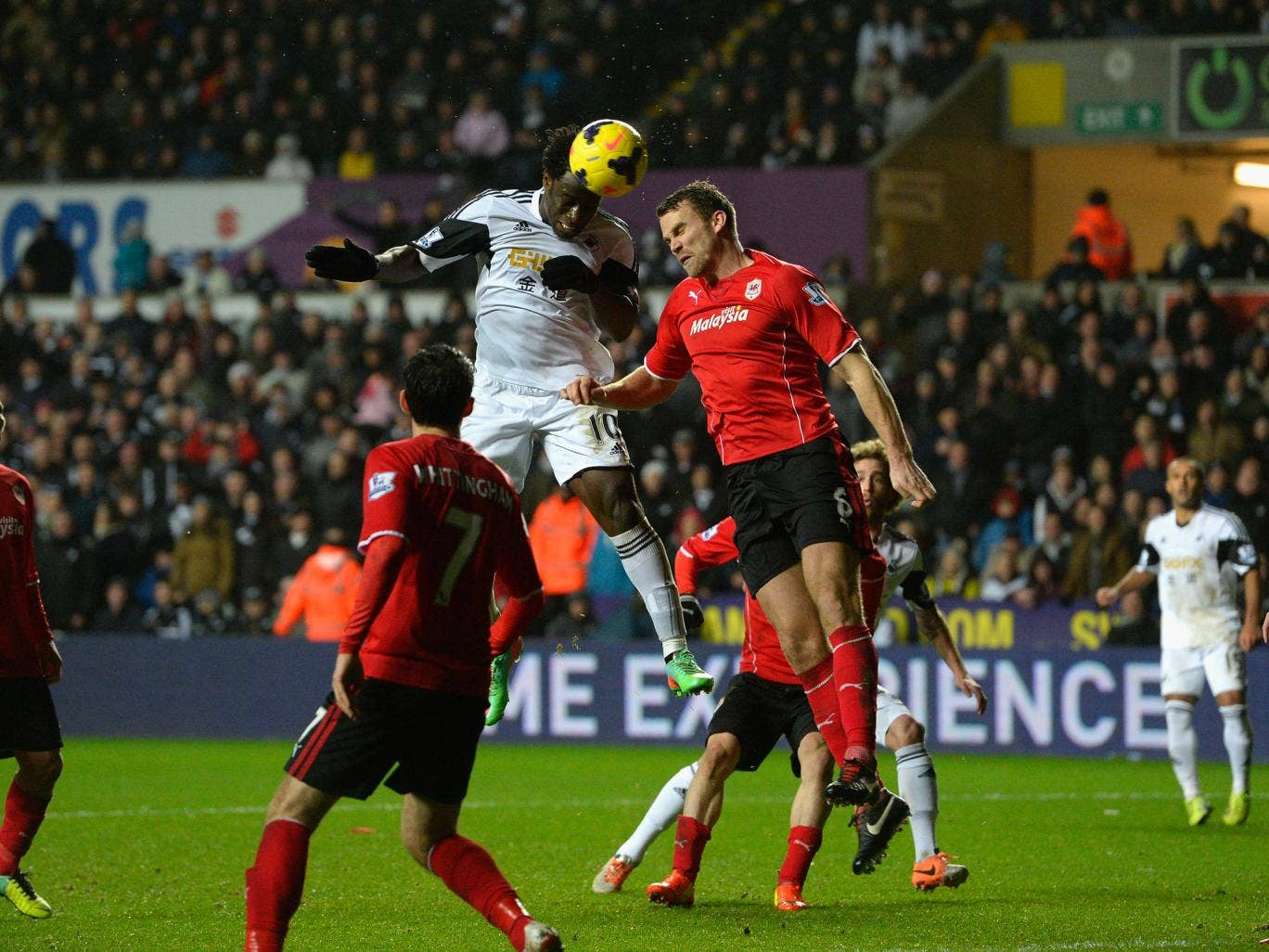 Wilfried Bony scores for Swansea in the 3-0 win over Cardiff