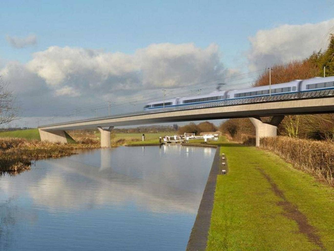 HS2's under-fire rail line, as it might look crossing the Birmingham and Fazeley canal
