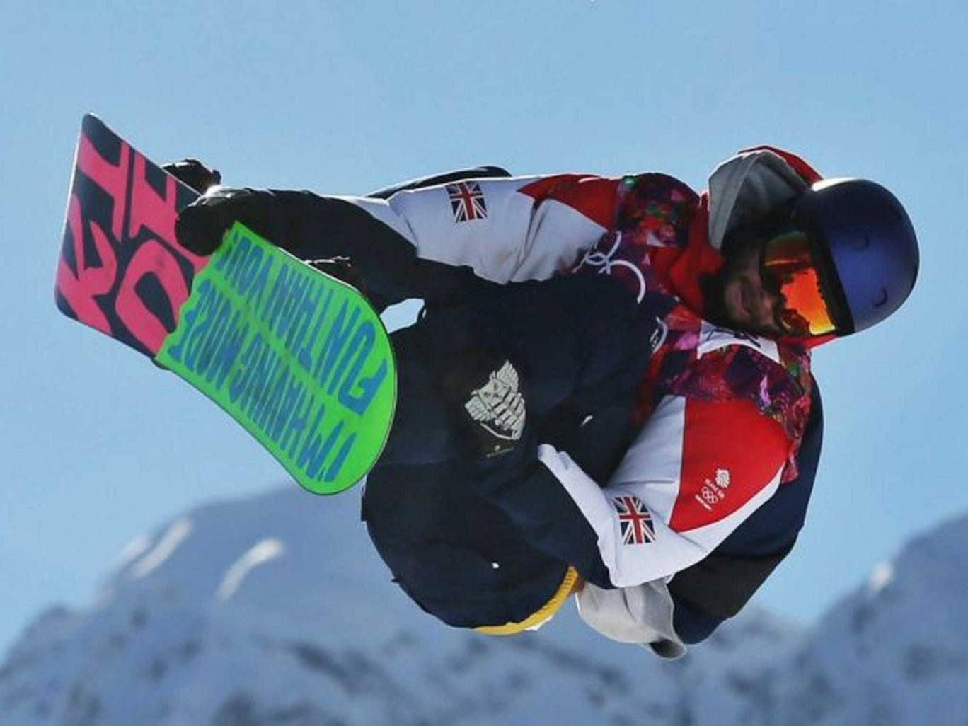 "Board games: Great Britain's Billy Morgan grabs some air in the slopestyle final, where he ""hucked it"""