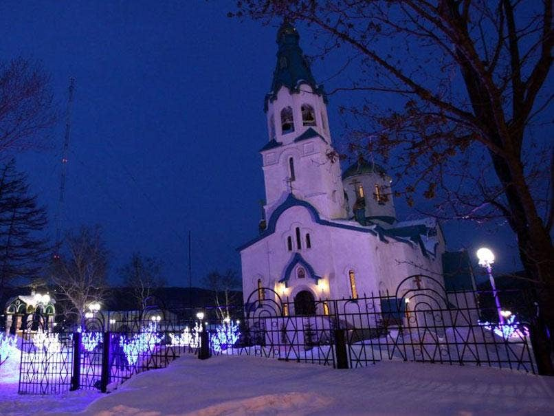 The cathedral on the Russian island of Sakhalin, where a gunman opened fire on Sunday