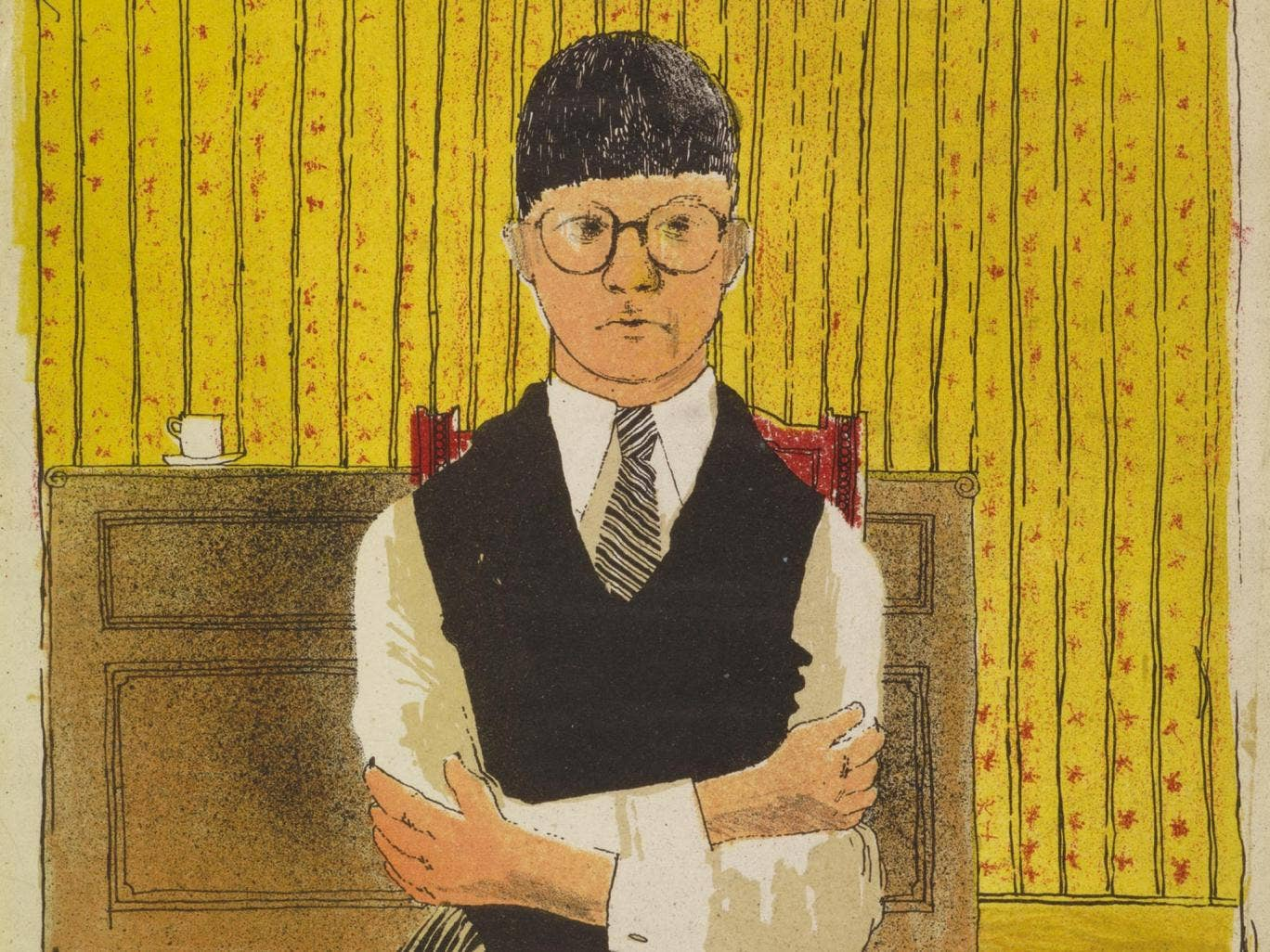 David Hockney's 'Self Portrait', lithograph (1954)
