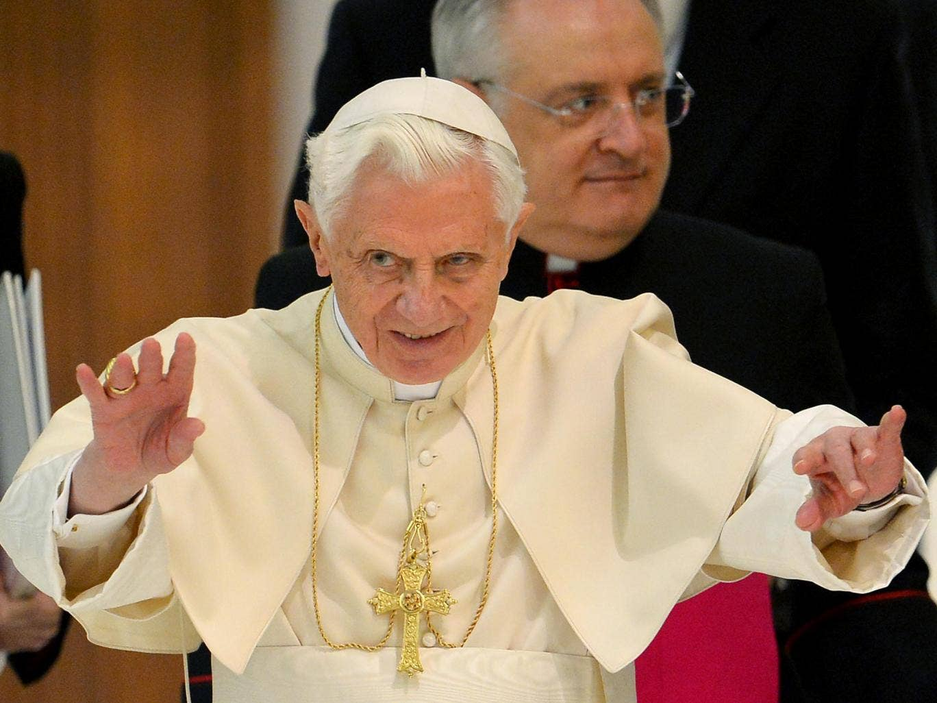 Pope Benedict XVI back in January last year, a month before he stepped down