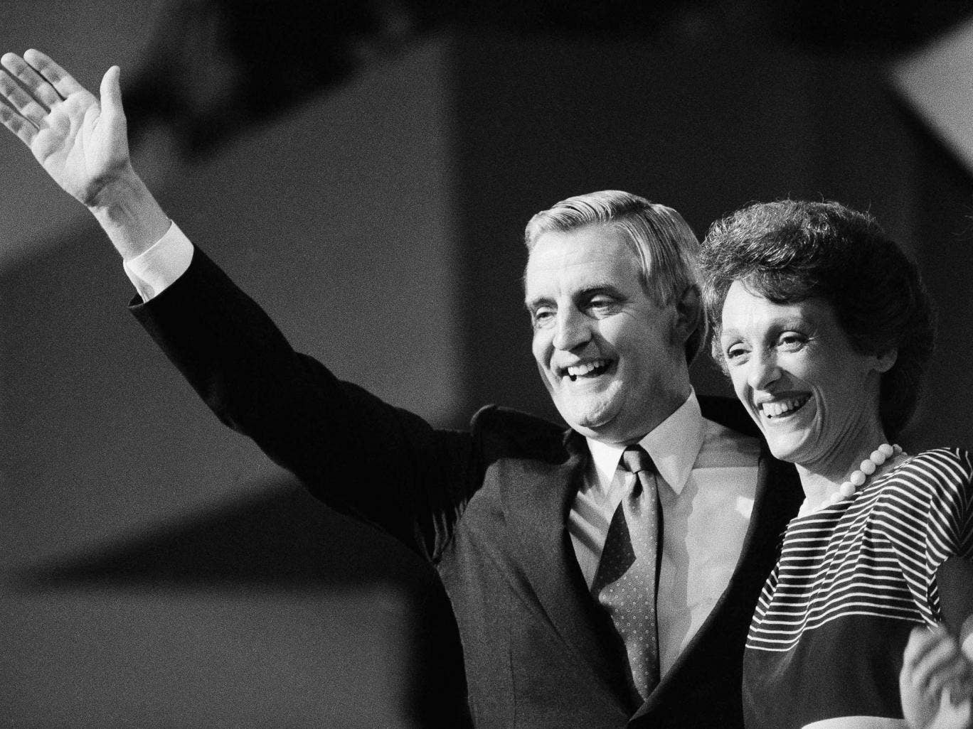 Mondale and her husband Walter on the presidential campaign trail in 1984