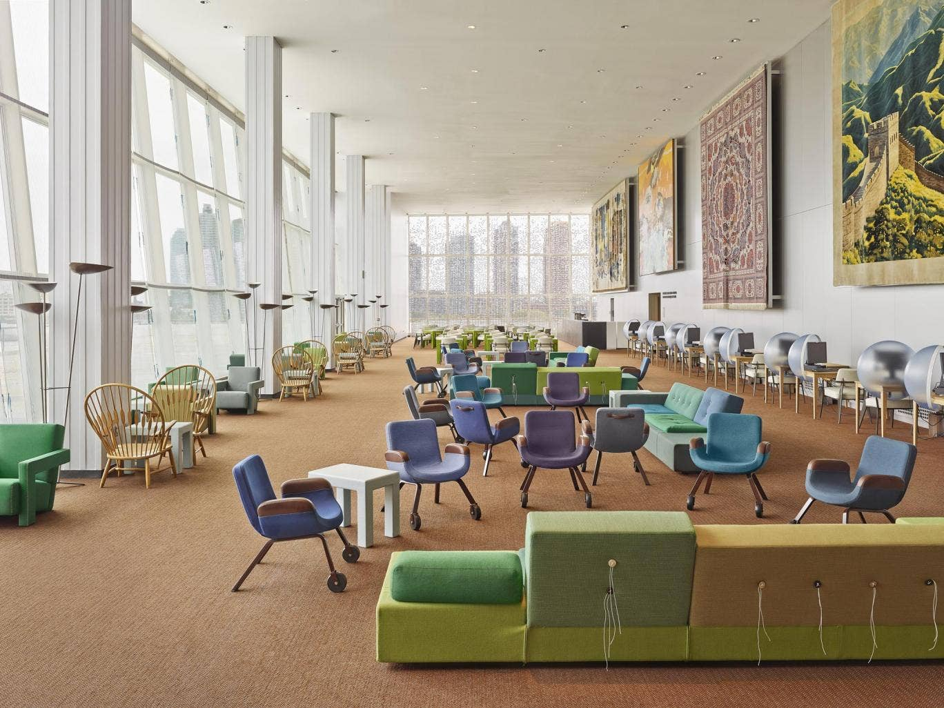 Interior for United Nations North Delegates' Lounge, New York – Designed by Hella Jongerius, together with Rem Koolhaas, Irma Boom, Gabriel Lester and Louise Schouwenberg
