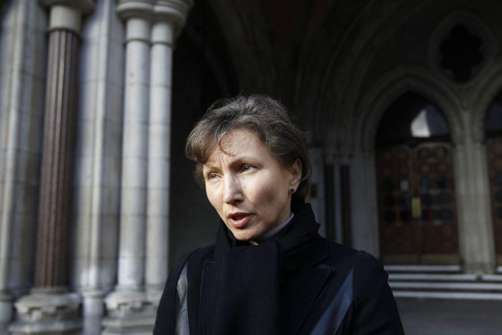 Marina Litvinenko leaves the High Court after the ruling