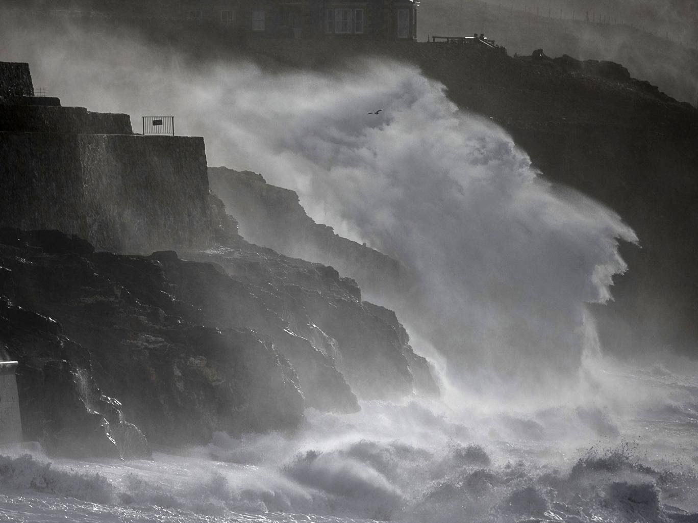 Storm waves break in February at Porthleven in Cornwall, England. The UK is bracing itself for more storms