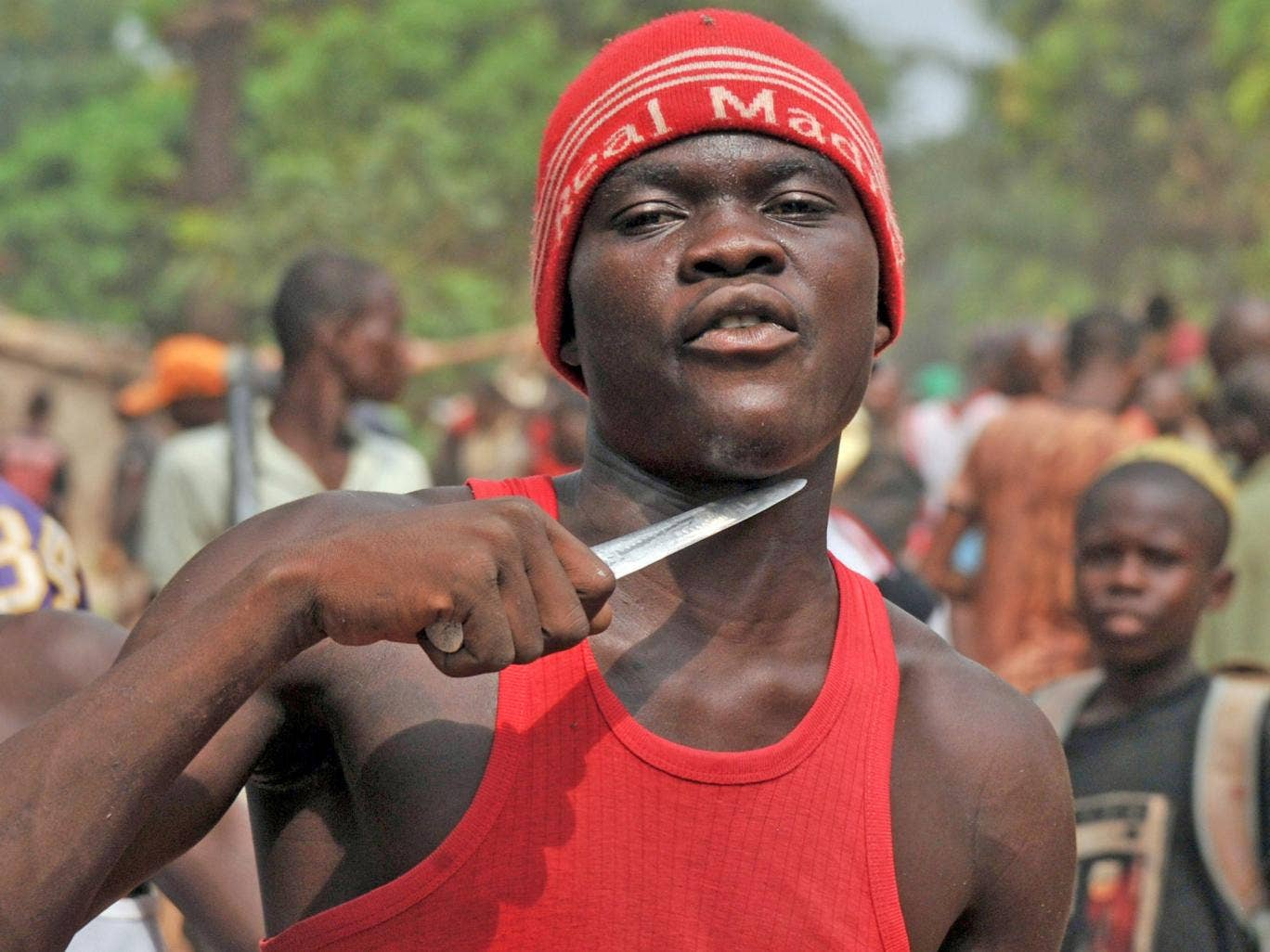 A Christian militiaman in Bangui claiming to be looking for Muslims