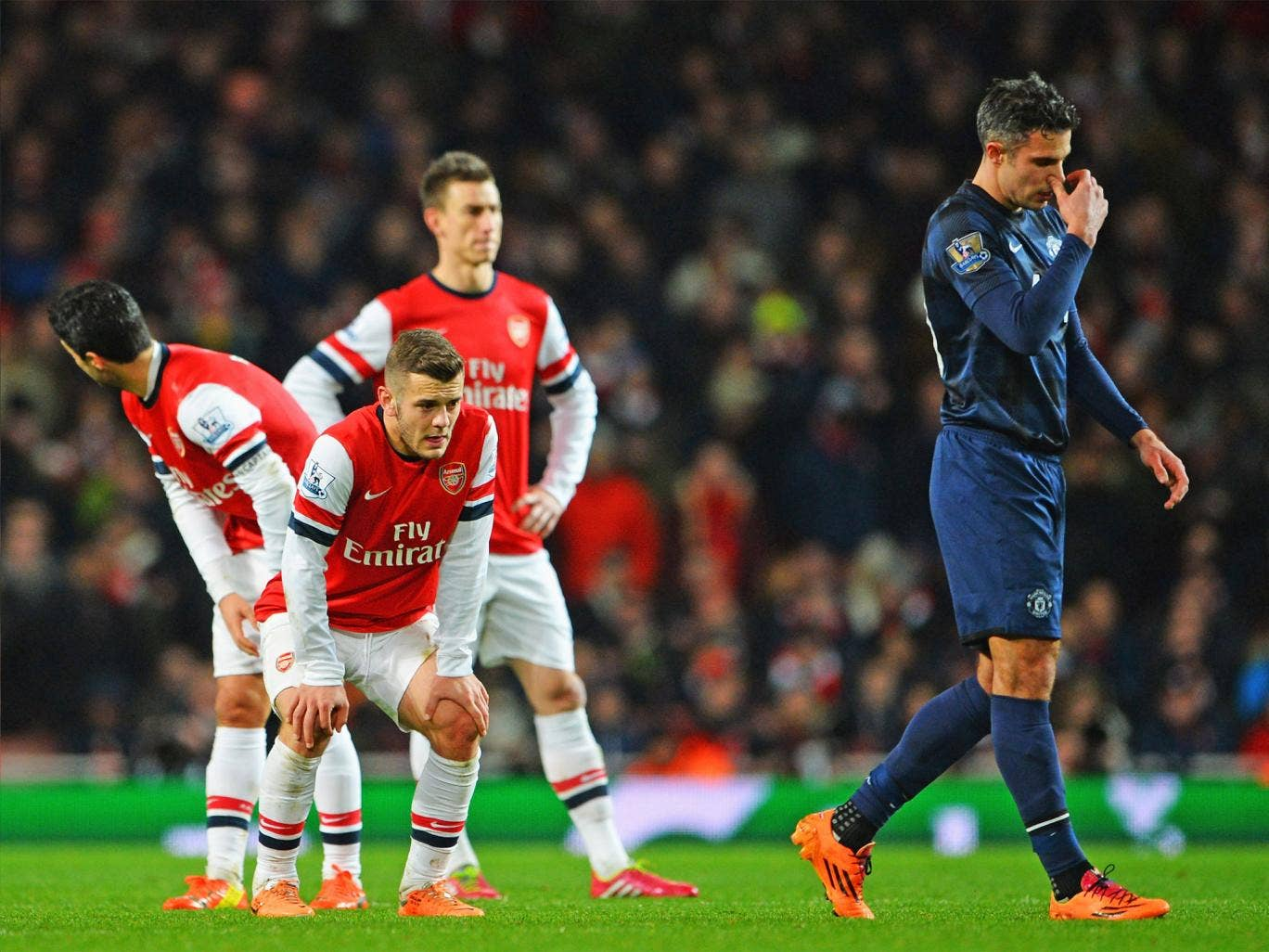Arsenal players, current and former, endured a frustrating evening at the Emirates