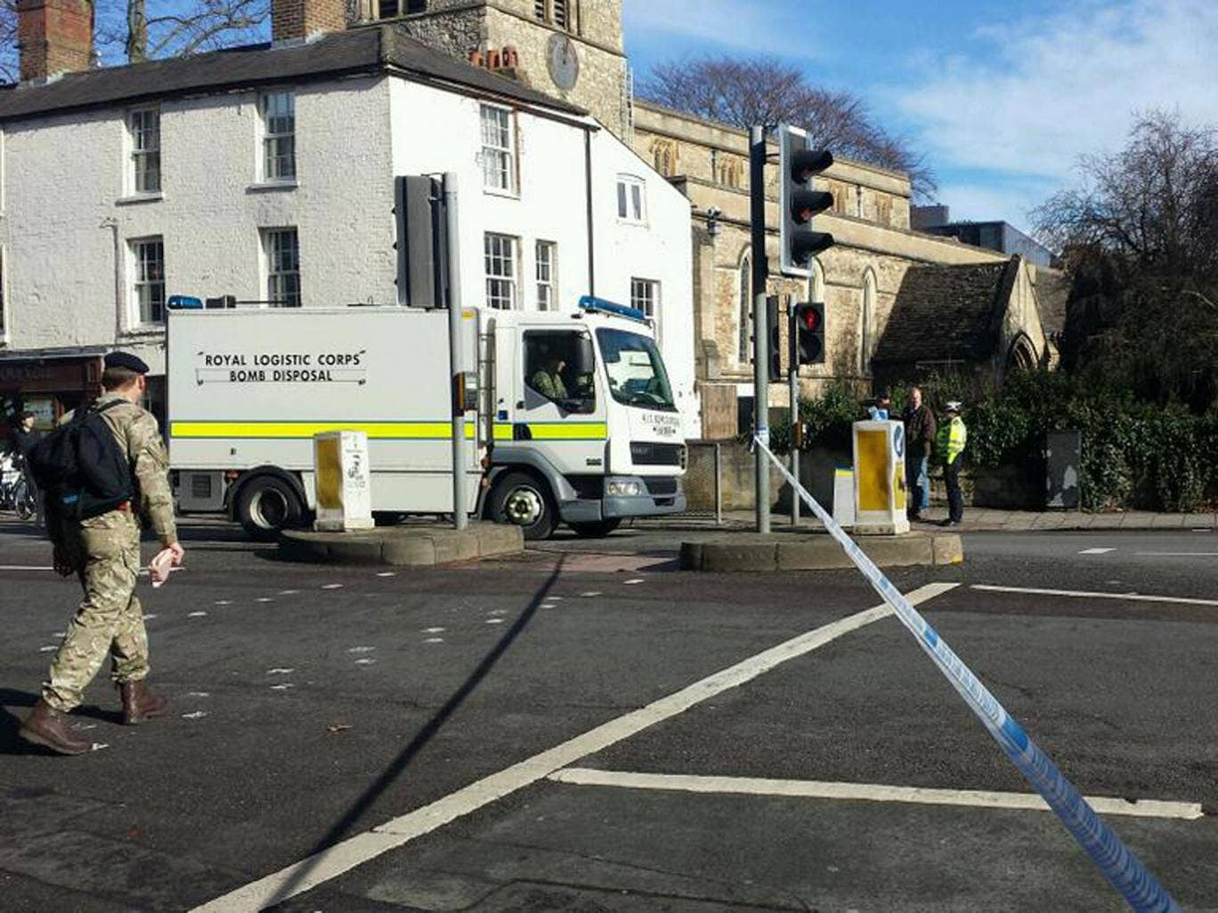 A bomb disposal unit deployed to investigate one of the 'suspicious packages' in Oxford, which the Ministry of Defence said was routine procedure