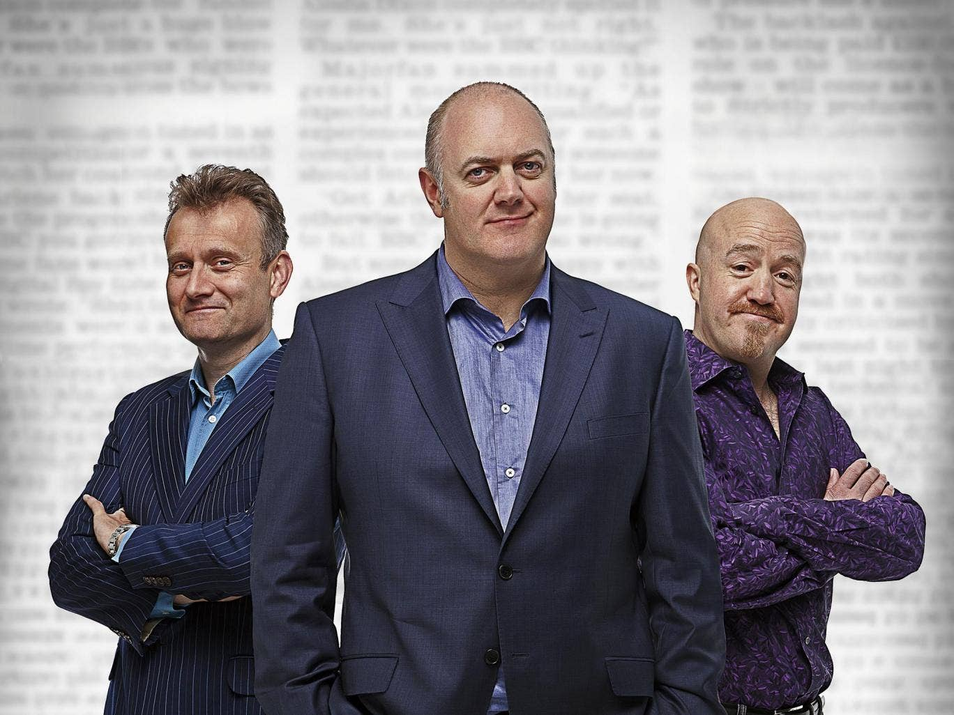 Shock of the news: 'Mock the Week' host Dara O'Briain with male panellists Hugh Dennis and Andy Parsons