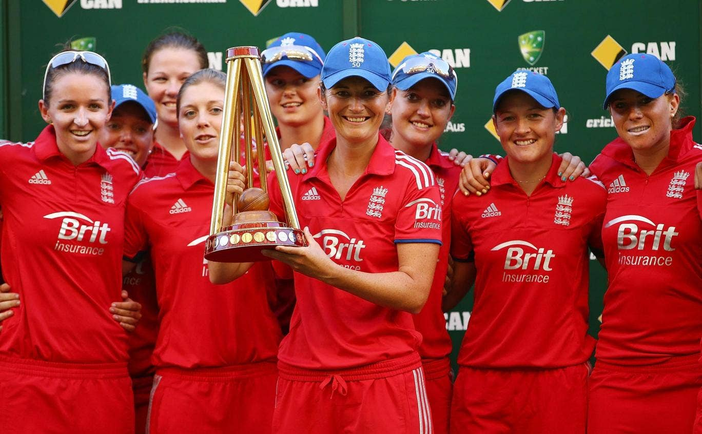 England captain Charlotte Edwards with the winners' trophy after beating Australia