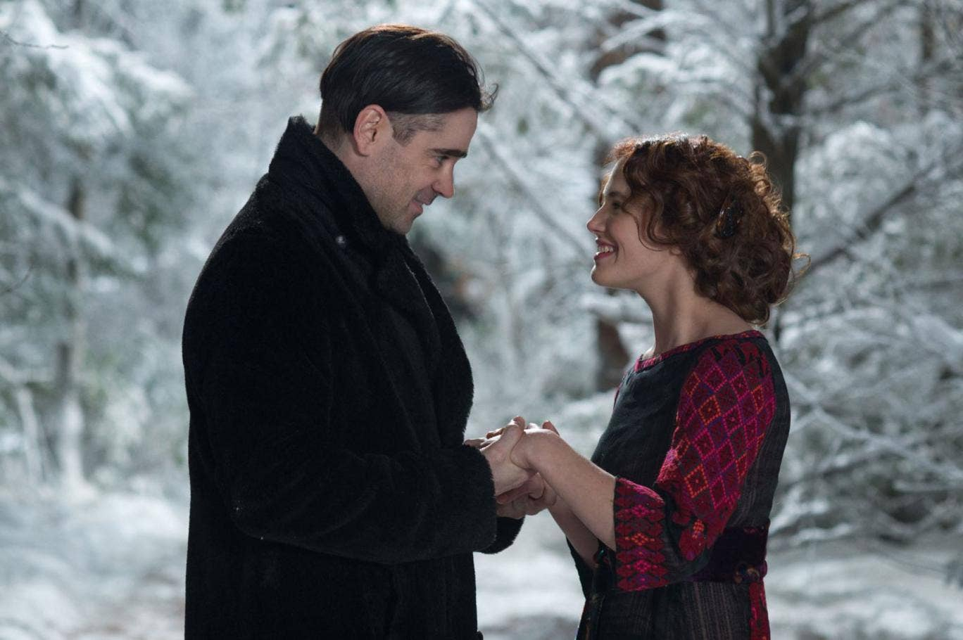 Colin Farrell with Jessica Brown Findlay in 'A New York Winter's Tale'