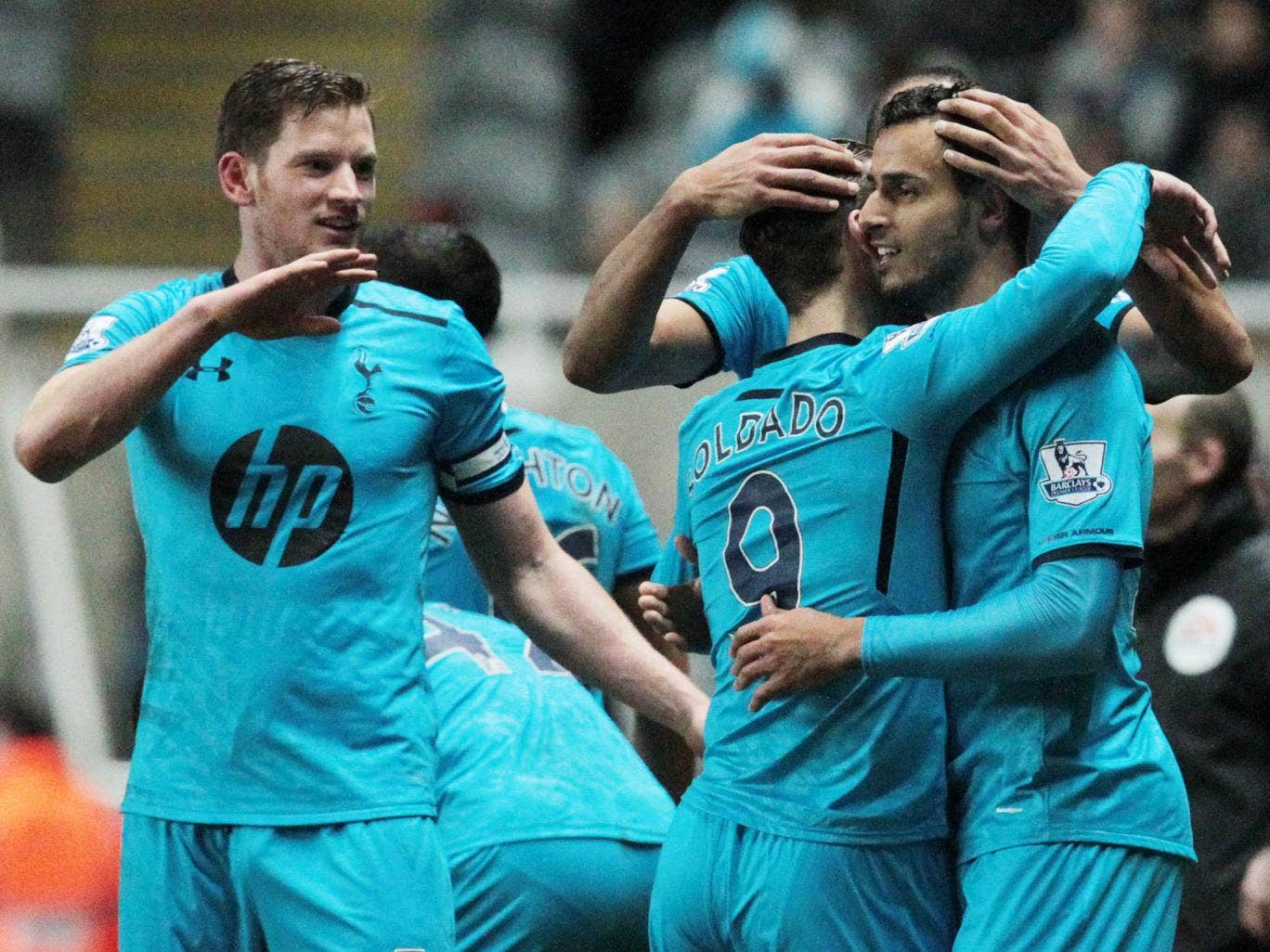 Nacer Chadli celebrates his first goal for Tottenham in the 4-0 rout of Newcastle