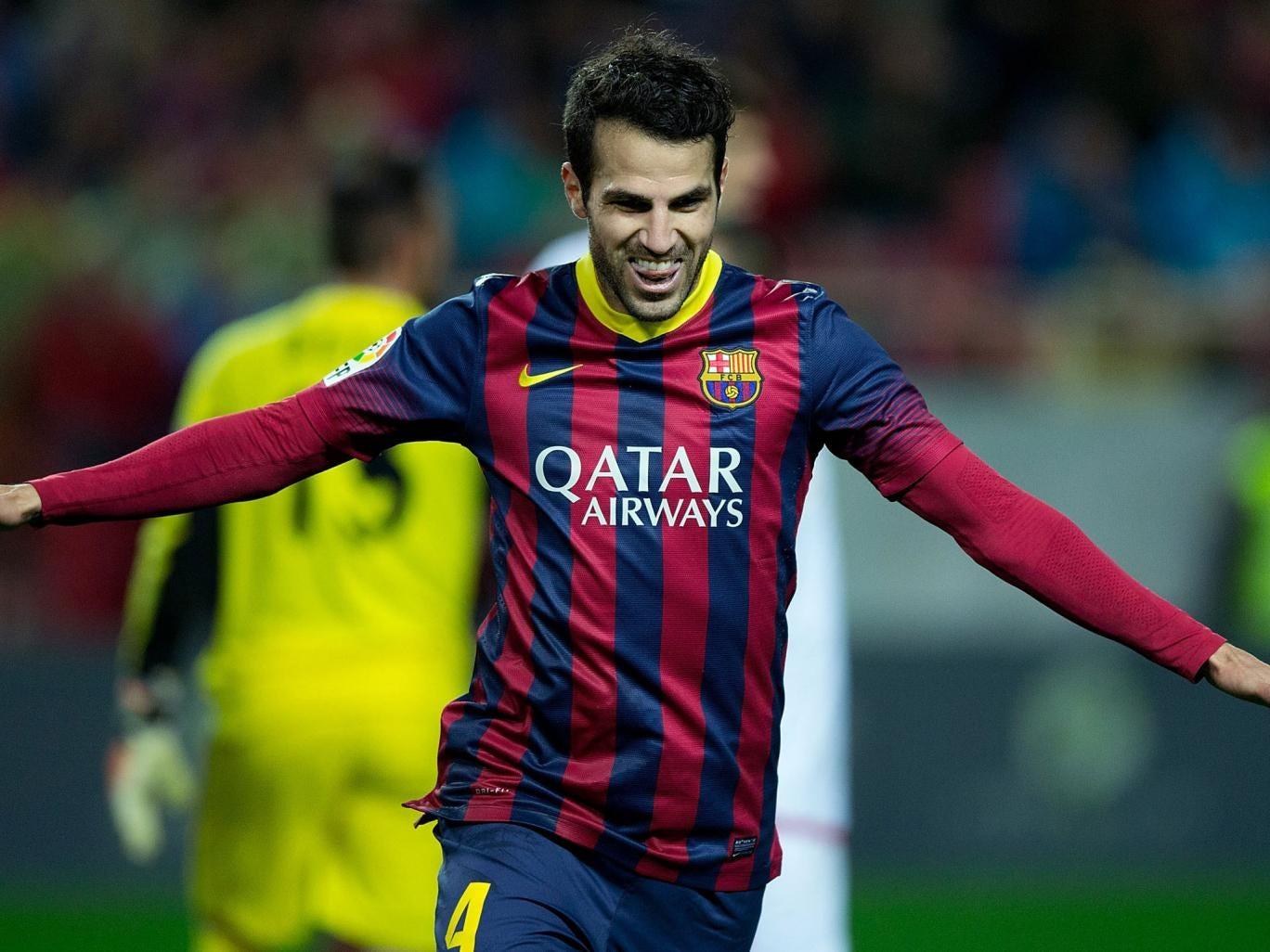 Cesc Fabregas celebrates his goal for Barcelona against Seville last weekend
