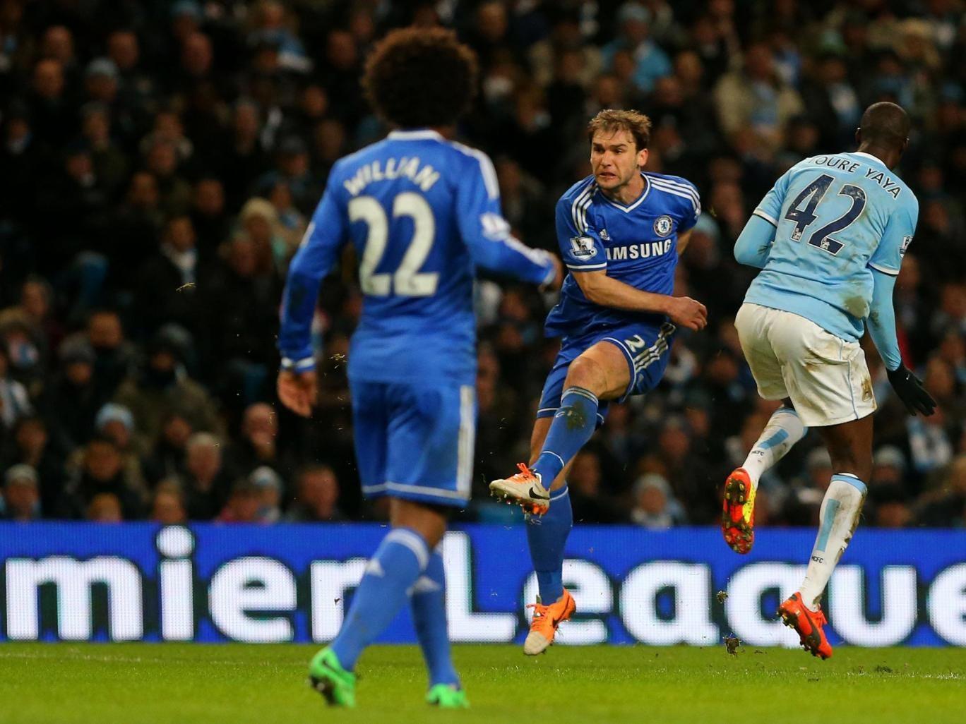 Chelsea's Branislav Ivanovic scores the winner against Manchester City at the Etihad last week