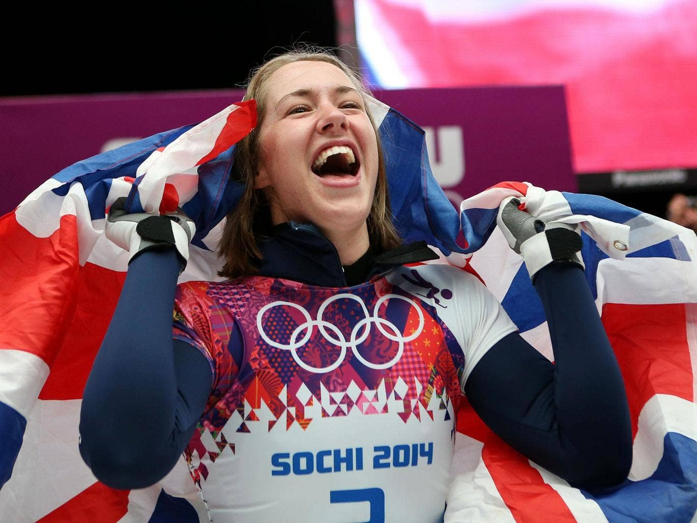 Great Britain's Lizzy Yarnold celebrates after winning Gold in the Women's Skeleton Final during the 2014 Sochi Olympic Games