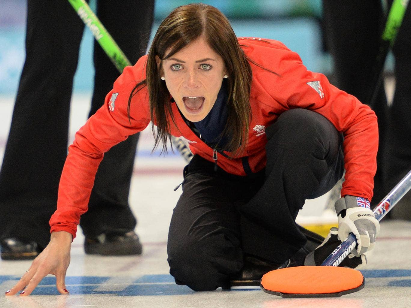 Great Britain women's curling team captain Eve Muirfield took three shots on the hammer to win their match with South Korea 10-8