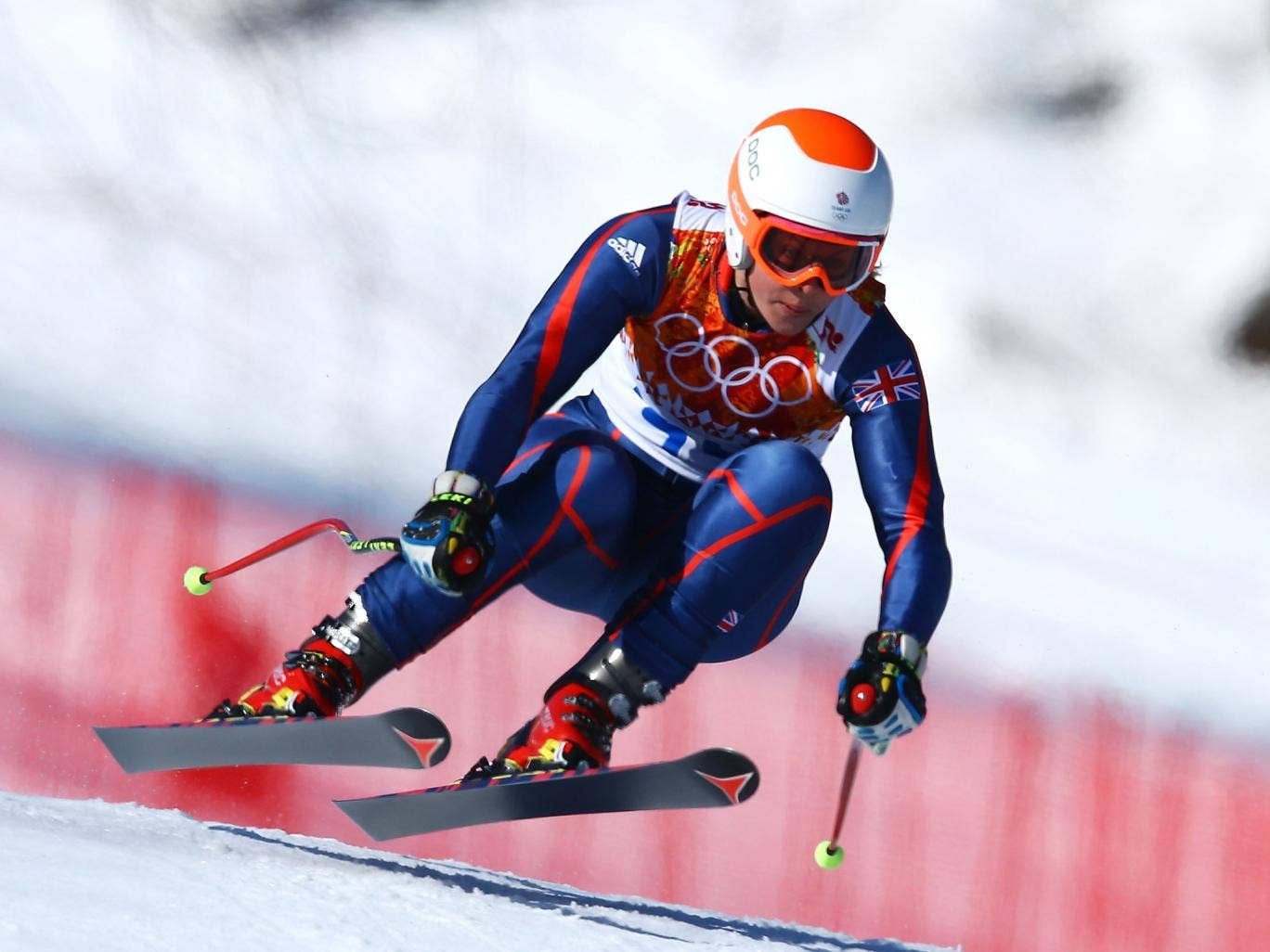 Chemmy Alcott in action in the women's super-g, where she finished 23rd